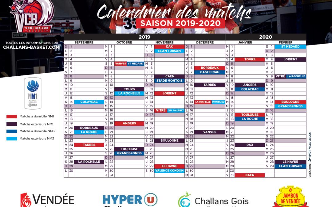 Calendrier Saison 2020.Calendrier Nm1 Nm3 Saison 2019 2020 Vendee Challans Basket